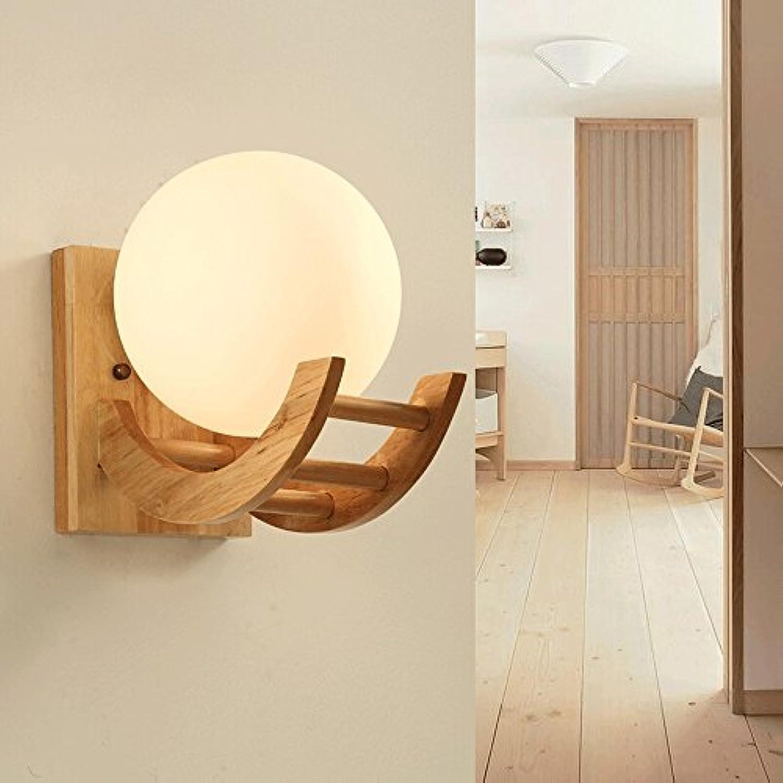 Retro LED Wandleuchte Massivholz Wandleuchte Glas Wandleuchte Schlafzimmer Nachttischlampen Wohnzimmer Studie Wanddekoration Lampe (Farbe   B)