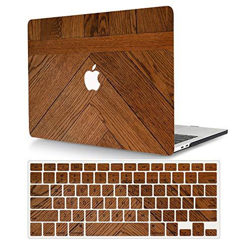AJYX MacBook Pro 13 Case 2012 2011 2010 2009 Release (A1278, con CD-ROM), carcasa rígida 2 en 1 y cubierta de teclado para MacBook Pro versión antigua de 13 pulgadas, grano de madera marrón