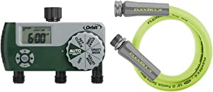 Orbit 56082 3-Outlet Hose Watering Timer, Green & Flexzilla HFZG503YW Lead in Hose, 3' (feet), ZillaGreen