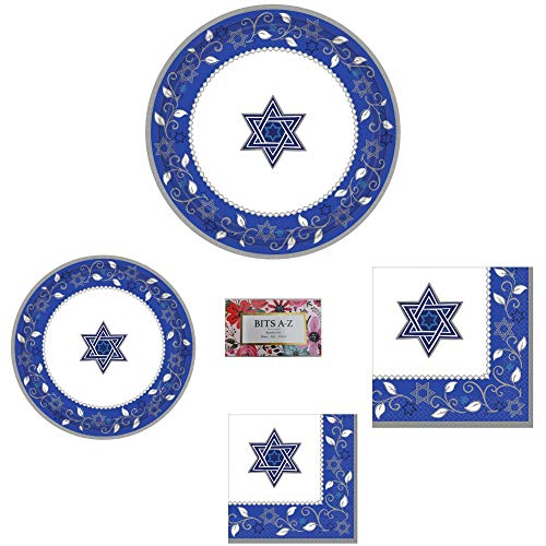Shavuot Paper Plates and Napkins Set for 16 - Joyous Jewish Holidays & Jewish Celebrations - 64 Pieces