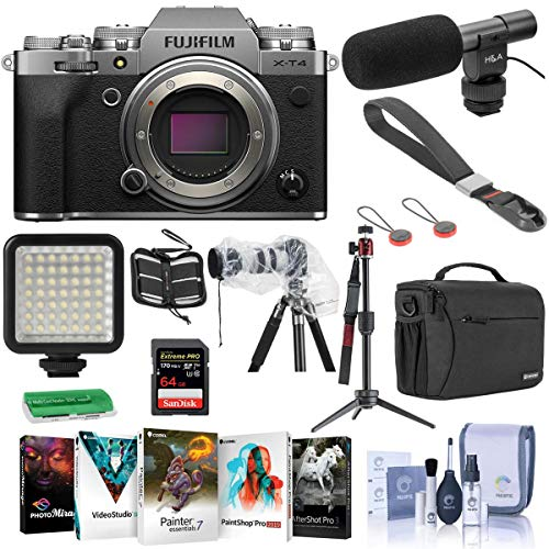Fujifilm x-t4 mirrorless camera body silver - bundle with shoulder bag, 64gb sdxc card, on camera shotgun mic, table top tripod, mini led light, peak camera cuff wrist strap, software and more