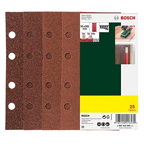Bosch 25tlg. Schleifblatt Set verschiedene Materialien (Körnung 40/60/80/120, 8 Löcher, Zubehör Schwingschleifer)