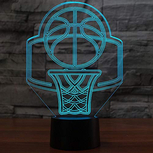 hqhqhq USB 16 Colores cambiantes Canasta de Baloncesto Modelo LED 3D luz de Noche lámpara de Escritorio decoración del hogar lámpara de Noche Creativa con Mando a Distancia -1314