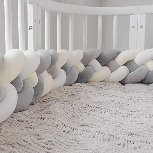 Wanguo Cuna Cojín Trenzado Almohada Bebé Cabeza Protector Nudo Parachoques Trenza Almohada Cojín para Cama De Bebé (Color : M-White+White+d-Gray+gr, Size : 220CM)