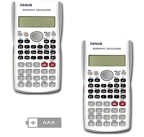 RENUS Wissenschaftlicher Taschenrechner, Zweizeilig Funktionsrechner Für Schüler und Lehrer (Weiß, 2PCS)