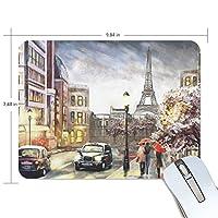 マウスパッド かわいい パリの街道 街の景色 油絵 異国風景 高級 ノート パソコン マウス パッド 柔らかい ゲーミング よく 滑る 便利 静音 携帯 手首 楽