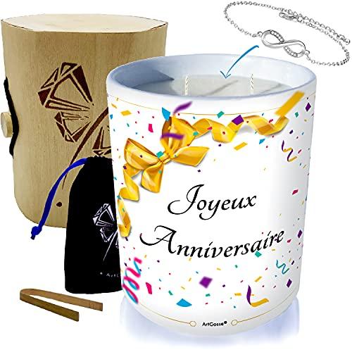 ArtGosse - Vela con joya decorada con cristales de Swarovski® • Cera vegetal perfumada monoï de Tahití • Caja regalo pulsera (Summer Time Infinity)