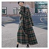 Zldgy Mujer abrigo ropa de invierno de lana cálida loca larga lana de lana lana a cuadros (Color : A, Size : L code)