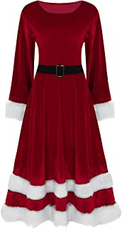 JEATHA Women's Velvet Christmas Costume Outfit Mrs Santa Claus Long Sleeves Swing Dress Ball Gown