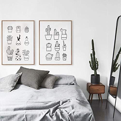 Non-branded Sukkulenten Kaktus In Retro Töpfe Leinwand Kunstdruck Malerei Poster Hand Gezeichnete Topfpflanze Wandbilder Dekoration 50x70 cm Kein Rahmen
