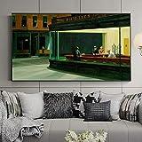 Cuadro famoso Edward Hopper Nighthawks Pintura en lienzo Carteles e impresiones Arte de pared para la sala de estar Decoración del hogar Marco de 60x120cm (24x47in)