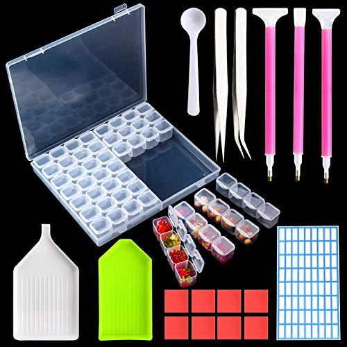 Mostfun 56 Fächer Diamant Stickerei Sortierbox Kunststoff-Box Aufbewahrungsbox mit Deckel für Schmuck DIY Handwerk Nägel, Strass, Perlen