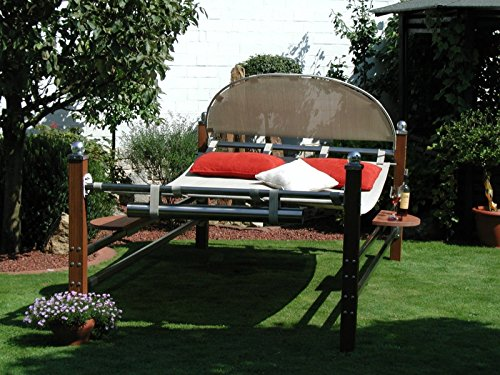 Leco Duo Bangkirai Luxusliege ROYAL Sonnenliege Gartenliege Liege Doppelliege bis 250kg belastbar