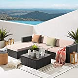 Waleaf 5 Pieces Patio Furniture Sets, Outdoor Sectional Sofa Cushioned, Furniture Sofa Set with Glass Table, Black Rattan Couch,Patio Seating for Backyard Porch Garden Balcony Use(5 Pieces, Beige)