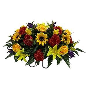 Sunflower Cemetery Flower Arrangement, Headstone Saddle, Grave, Tombstone Arrangement, Cemetery Flowers R4351