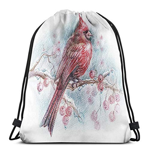 LLiopn Drawstring Sack Backpacks Bags,Red Bird On A Branch with Holly Berries Perching Avian Animal Hand Drawn Design,Adjustable.,5 Liter Capacity,Adjustable.