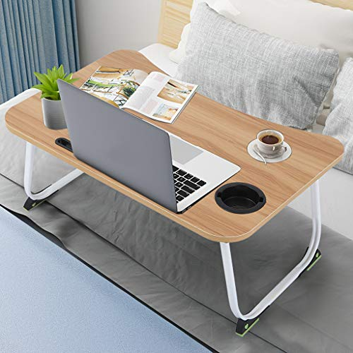 Household Bedroom Large Bed Foldable Tray Portable Multifunction Laptop Desk Stable Lazy Computer Laptop Table (Brown)