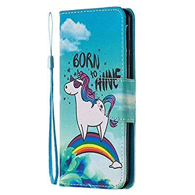 XTstore Funda Samsung Galaxy A12, Unicornio Patrón Carcasa Piel Libro de Cuero con Correa de Mano Cubierta de Billetera Protector Suave Silicona Tapa con Ranuras de Tarjetas