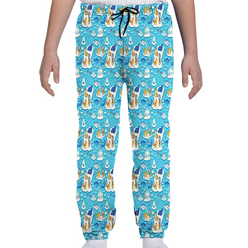 Youth Joggers Sweatpants,North Pole Pattern with Wild Animals Eskimos and Yurt Ice Blocks on The Ocean,XL
