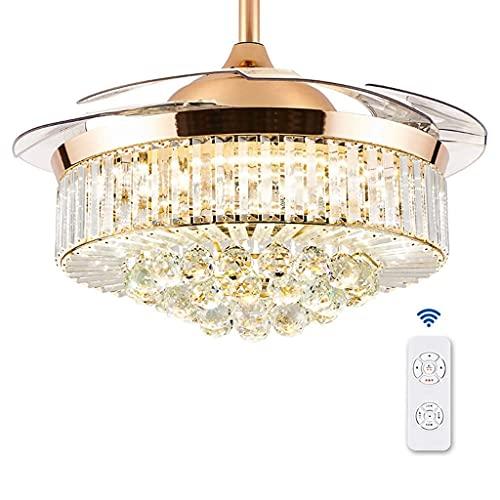 JKYP Ventilador de techo con luz y mando a distancia Ventilador de techo, sala de estar, comedor, dormitorio, hogar, ambiente minimalista, ventilador cargado (oro, plata) (color dorado)