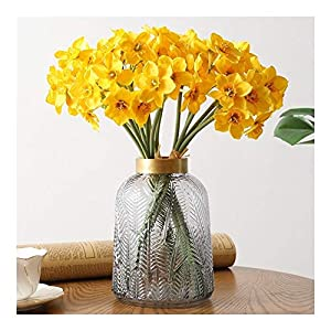 YYJHT Decorative Artificial Flowers Artificial Flowers Bouquet Daffodil White Silk Fake Flowers for Wedding Home Decoration Accessories Faux Flowers (Color : Yellow, Size : 1 pc)