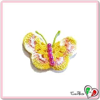 Mariposa salmón y amarillo para aplicaciones, broche o imán ...