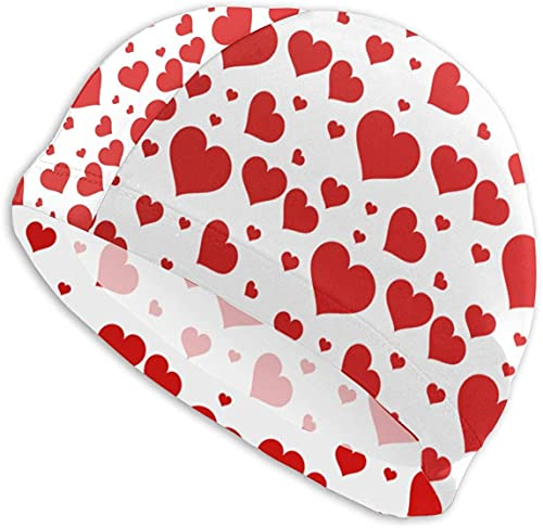 Gorro de natación con patrón de corazón para hombre y mujer antideslizante gorro de baño duradero fácil de poner en sombreros de baño para deportes acuáticos. Te hace único en la piscina.