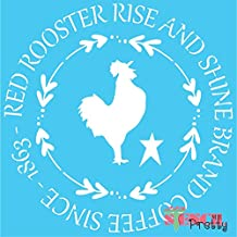 Standard Brilliant Blue Color Material Red Rooster Rise and Shine Coffee Stencil - Primitive Décor-L (17
