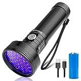 morpilot Linterna UV Ultravioleta Recargable con 51 LED, 395 NM Flashlight Luz UV Portátil Detector ...