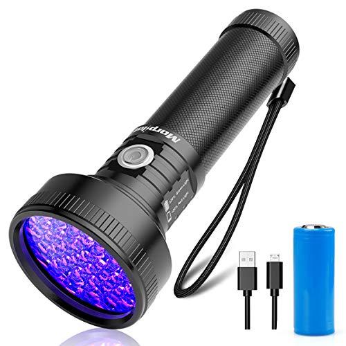 morpilot Torcia UV Ultravioletti Ricaricabili 51 LED, 395 NM Blacklight UV Lampada Portatile Rilevatore per Macchie, Urine di Animali Domestici e Scorpioni, Micro USB Cavo e Batteria Inclusi