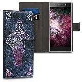 kwmobile Sony Xperia XA1 Hülle - Kunstleder Wallet Case für Sony Xperia XA1 mit Kartenfächern & Stand - Elefant Zeichnung Design Pink Anthrazit