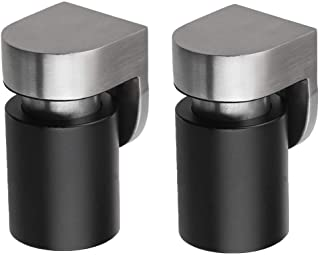 Lizavo DS-004 Stainless Steel Noise Cancelling Magnetic Door Stop with Soundproof Rubber, Floor Mounted, 2 Pack