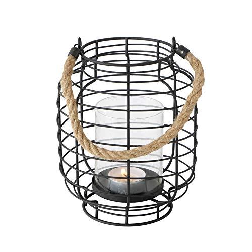 Windlicht Carla Eisen Höhe 18 cm schwarz, Tischdeko, Geschenk, Beleuchtung