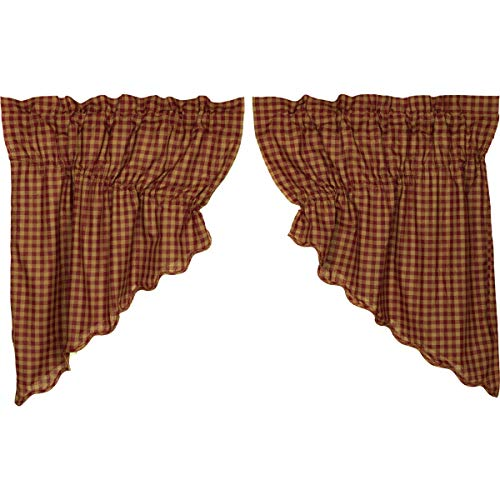 VHC Brands Burgundy Check Scalloped Prairie Swag Set of 2 36x36x18 Country Curtains, Burgundy and Ta
