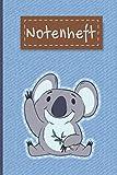NOTENHEFT: Din A5 Quer für Anfänger und Fortgeschrittene / Blanko NotenBlock / Leere Notenzeilen / Notensystem / für die Schule / Komponist / Panda Bär Jeans