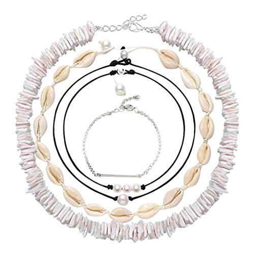 Alwayswin Shell Pearl Choker Halskette für Frauen Hawaiian Seashell Pearls Choker Halskette Handgemachte Natural Shell Halsketten Bohemia Halskette Schmuck Set Boho Schlüsselbein