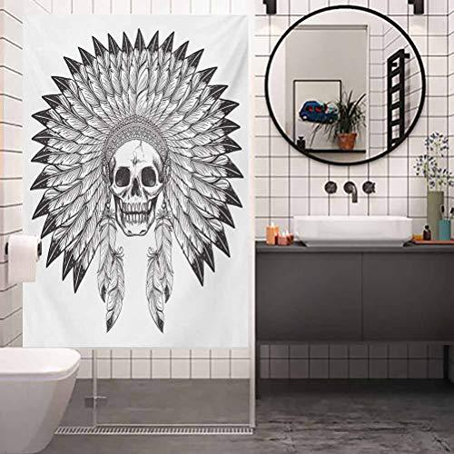 Pegatinas térmicas para ventanas UV, privacidad, diseño de calavera tribal de apache, para salón, dormitorio, cocina, vestíbulo, porche, oficina, 23.6 x 47.2 pulgadas