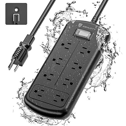 ESHLDTY 8-Outlets Outdoor Power Strip Weatherproof, Mountable Surge Protector with 6ft Extension Cord IPX6 Waterproof 1875W Overload Protection Outlet for Patio,Garage,Home Office(Black)