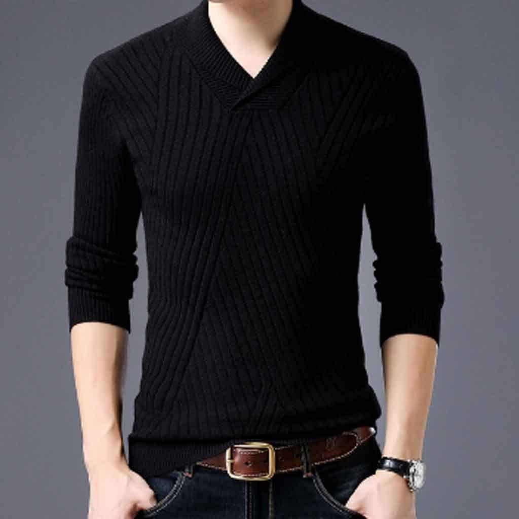 ZYING Weater for Mens Pullovers Neck Slim Fit Jumpers Knitwear Autumn Korean Style Casual Mens Clothes (Color : Style 1)