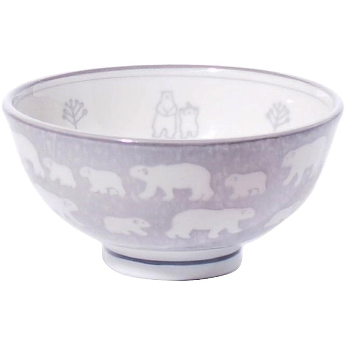 羽クラシック操縦するみのる陶器 白くま 軽量茶碗 中 グレー