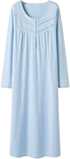 Keyocean Nightgowns for Women All Cotton Soft Lightweight Long Nightshirt Sleepwear Lounge-wear for Summer