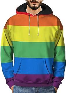 Hoodies for Men, Pervobs Mens Loose Long Sleeve 3D Printed Rainbow Hooded Sweatshirt Pullover Hoodies