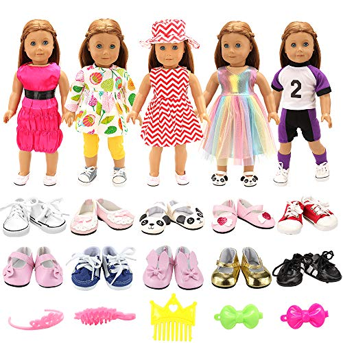 BARWA 5 Sets Clothes Dress Outfits with Accessories and 2 Pairs Shoes Compatible with 18 Inch Dolls