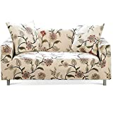 Lamberia Printed Sofa Cover Stretch Couch Cover Sofa Slipcovers for 4 Cushion Couch with Two Free Pillow Cases (Blooming Flower, Sofa 4 Seater)