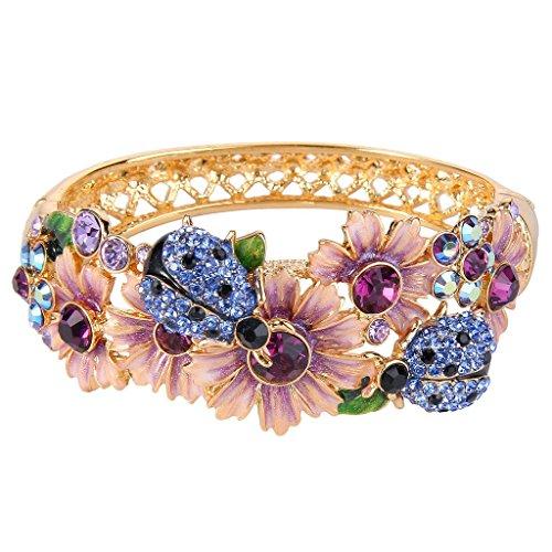 EVER FAITH Cristal austríaco Esmalte Flor de la Mujer Beetle Pulsera Multicolor Tono Dorado