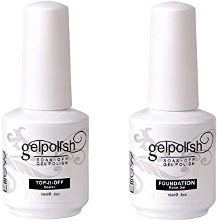 Elite99 Base y Top Coat Semipermanente Esmalte Semipermanente de Uñas Gel UV LED Color 2pcs Kit de Manicura Soak off 15ml