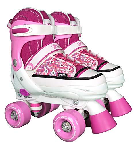 Best Sporting 30136 - Rollschuhe Quad Style in weiß pink, Schuhgröße: 32 - 35, Größe verstellbar, ABEC 7 Carbon, für Anfänger geeignet