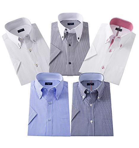 ワイシャツ半袖 メンズ ビジネス夏の5枚 セット好きなセットが選べる (L, 0503A)