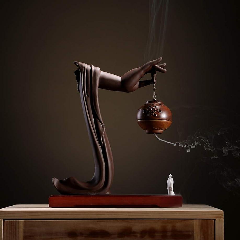 不安定な汗技術者手動逆流香バーナーロータス/僧侶逆流香バーナーコーンコーンブラケットホームデスクトップの装飾L28cm×W9.5cm×H33cm (Color : Brown incense burner)