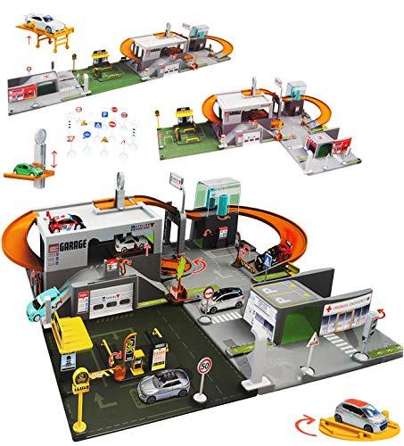 alles-meine.de GmbH Set: XL 3-D Spielmatte -  Straße mit Parkhaus  - UMBAUBAR - 4 Teile mit Brücke - 1/64 - Tunnel - Tankstelle - Feuerwehrstation - Krankenstation - Waschanlag..